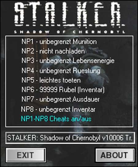 Stalkershadowofchernoby STALKER: Shadow of Chernobyl 1.0006 +8 Trainer. СТ