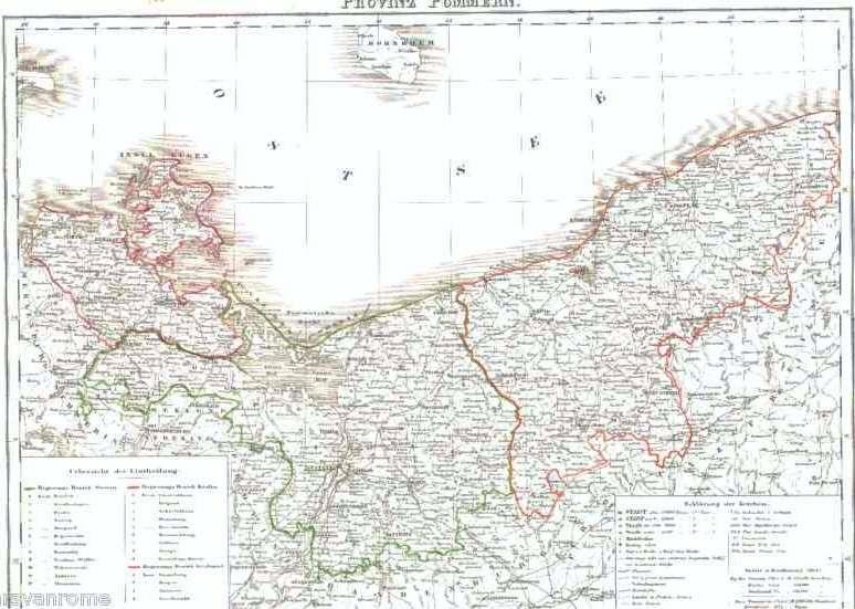 Historische-alte-Landkarte-POMMERN-Ruegen-Stralsund-1844